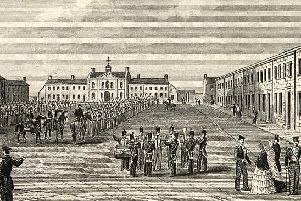 On parade, soldiers of the barracks