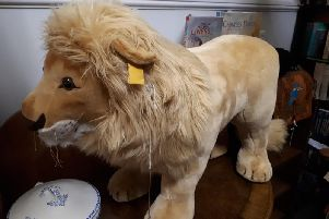 This giant Steiff lion, nearly a metre long, is in immaculate condition