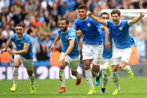 City players celebrate after Gabriel Jesus' winning the penalty in the shootout