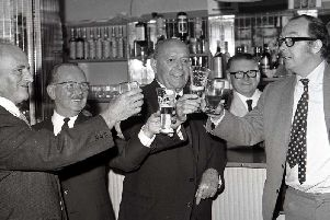 Eric Morecambe celebrates becoming president of Morecambe football club August 1969