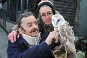 Bill with wife Carole, who ran the owl sanctuary with him