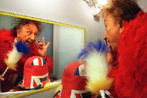 Sir Ken Dodd prepares to perform at the Chorley Little Theatre in 1999