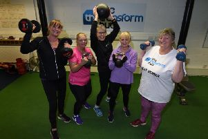 Dawn Gallagher, Carole Taylor, Anne Atkinson, Jill Blanshard and Margaret McCarten at an exercise class for women aged 50 and over at The Transform Hub.