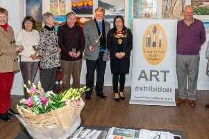 The Winners of The Lodge Artists' annual competition. l to r Pauline Carr, Mrs Graham Sutch, George Horsfield, Val Jones, Mayor of Chorley, Roger Gillet, Pat Richardson, Alistair Sheret, Pauline Collins, Kev Fowler, Rod Walmsley. 'Photo by Ian Fletcher