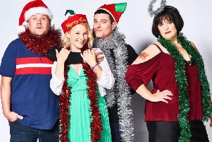 Old friends James Corden, Joanna Page, Matthew Horne and Ruth Jones. Picture courtesy BBC/GS TV Productions Ltd/Tom Jackson