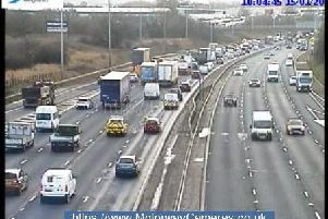 Two lanes (3 and 4) are blocked after a crash on the M6 southbound near junction 31 this morning (January 15)