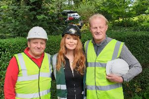 Tony Cartwright with DIY SOS TV star Gabrielle Blackman and former Blackburn Rovers player Colin Hendry.