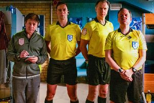 Reece Shearsmith, Ralf Little, David Morrissey and Steve Pemberton in Inside No.9, which returned for a fifth series this week. Picture: BBC / Sophie Mutevelian