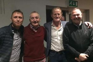 From left to right are footballing heroes Brett Ormerod, Tony Parkes, Colin Hendry and Stephen Elliott at the Evening with Len Johnrose charity night in Bamber Bridge.