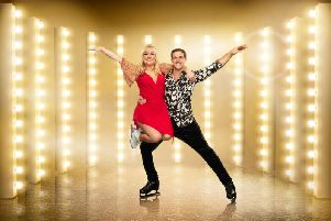 Blackpool skater and training orthopedic doctor Tom Naylor with celebrity partner Coronation Street actress Lisa George pictures ITV Plc