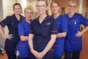 Emma, Sue, Bex, Natalie and Kylie in The Maternity Ward, from Preston. Picture courtesy Chalkboard TV