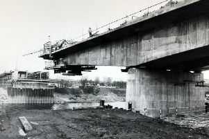 Penwortham bypass, pictured here being constructed, is causing delays for motorists