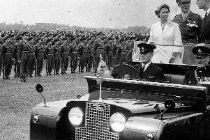 Queen, Colonel-in-Chief of The Loyal Regiment (North Lancashire), reviewing the 1st Battalion on Stockton-on-Tees Racecourse in May 1956'Photo: Lancashire Infantry Museum