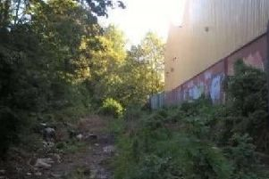 The overgrown track at the rear of West View Leisure Centre