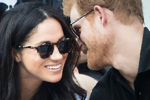 Prince Harry and Meghan Markle watching Wheelchair Tennis at the 2017 Invictus Games in Toronto, Canada