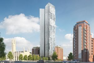 Logik Developments, headed by Andrew Flintoff, have submitted plans to build a 35-storey block of apartments in the centre of Manchester (Image via Logik Developments).