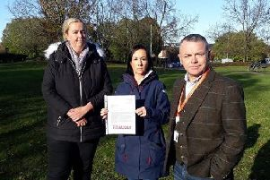 Playground campaigners, councillor Matthew Tomlinson, with  Aniela Bylinski Gelder, centre, and Kim Snape, the prospective Labour Parliamentary candidate for South Ribble.
