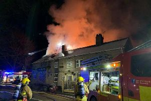 The Sirloin pub ablaze. Photo: Andrew Dunn