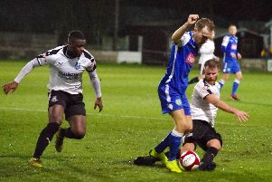 Match action from the derby clash between Bamber Bridge and Lancaster City.'Photo: Ruth Hornby
