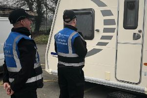 Court enforcement officers at the site in Euxton this morning