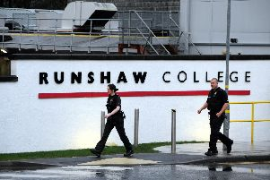 Police at Runshaw College yesterday