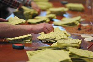 An election count under way
