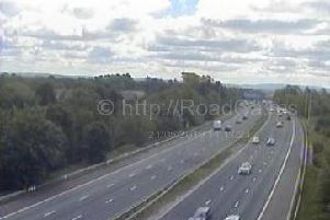 A lane has been closed on the M6 southbound between junctions 33 (Lancaster) and 32 (Broughton) after a vehicle overturned at around 10.45am (May 21)