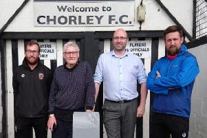 Jonothan Gains (Chorley FC), David Murgatroyd (Trustee), Darren Jenkinson (Chair of Foundation), Simon Denham (Trustee and Chorley FC Director).