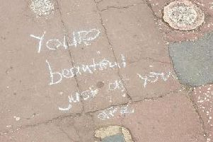 One of the Guides' pavement messages