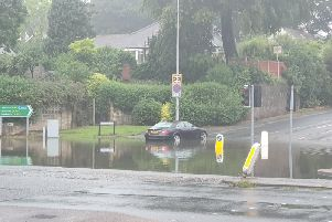 Riversway has flooded at the junction with Pedders Lane near Preston Docks