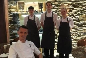 Lakeside Hotel and Spa  Head Chef Richard Booth with Runshaw College students (left-right) Ashton Wade, Jake Bell and Eleanor Taylor.