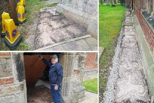 Churchwarden at St Michaels and All Angels Church, Jock Davidson, shows off the damaged caused (Photos: JPIMedia)