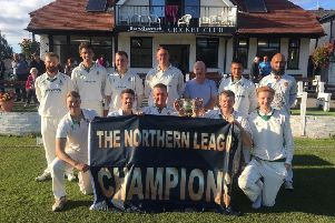 Leyland celebrating their title victory at the weekend (photo courtesy of @LeylandCC)