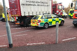 Emergency vehicles outside the school including a specialist hazardous materials vehicle (Photo Lancs Fire and Rescue).