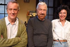 Actor Stephen Tompkinson with playwright Willy Russell and Jessica Johnson currently touring in Educating Rita