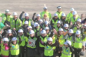 Children from Stanah Primary School at Thornton-Cleveleys visited the A585 Norcross roundabout site after winning a design-a-sign road safety competition