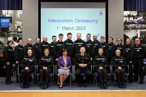 The new recruits pictured with front row centre (l to r) Magistrate Judy Brucl JP and Chief Constable Andy Rhodes.