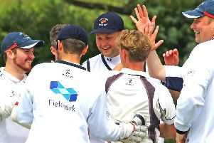 Vernon Carus celebrate a wicket against Torrisholme at Boundary Meadow. Picture: Tony North