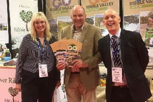 Sharon Yandell from the National Group Leisure and Travel Show, Tom Pridmore, Tourism and Events Officer Ribble Valley Borough Council, and Travel Consultant Steve Reed.