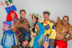 The cast for Aladdin, this year's pantomime at Preston's Charter Theatre