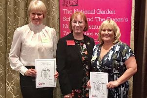 Diane Hobro and Helen Kerrigan-Hawkes receiving their Queen's Nurse Awards at the Royal Garden Hotel, London.
