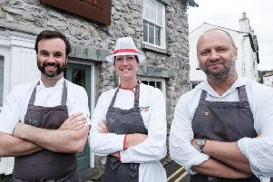 Chef Gerald van der Walt, school cook Dawn Davis and chef Simon Rogan, the owner of Rogan & Co.