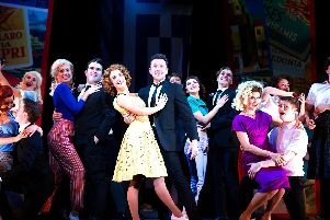 Sophie Matthew and Ray Quinn with the cast of Summer Holiday