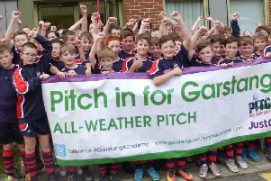 Pupils at the launch of the Pitch In campaign in Garstang