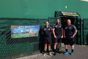 Paul Mountford (right) with fellow Fit Football coaches Craig Latham and Jon Atkinson