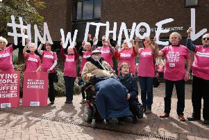 Terminally-ill Noel Conway with his wife Carol and supporters outside Telford Justice Centre in Shropshire, where he is due to view a video link of a hearing in his assisted dying case, taking place at the Court of Appeal in London. PRESS ASSOCIATION Photo. Picture date: Tuesday May 1, 2018. See PA story COURTS Conway. Photo credit should read: Aaron Chown/PA Wire