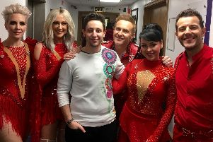 Max Restaino, who performed at Blackpool Sixth Form College students in 2015, with world famous pop group Steps in 2017