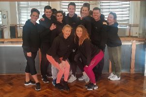 The cast of The Greatest Showman production at Blackpool Pleasure Beachs Globe Theatre in rehearsals