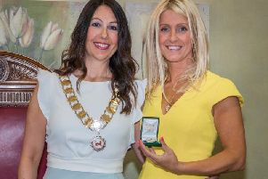 New Garstang mayor Coun Elizabeth Webster (left) with outgoing mayor Coun Leah Hynes