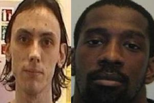 Christopher Kerrigan, 22 (left) and Kearon Tyrone Hunte, 31, are both wanted by police after escaping from HMP Kirkham at 7.30pm on Saturday (October 5)